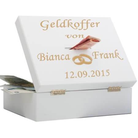 Geldkoffer zur Hochzeit mit Gravur (Ringe)