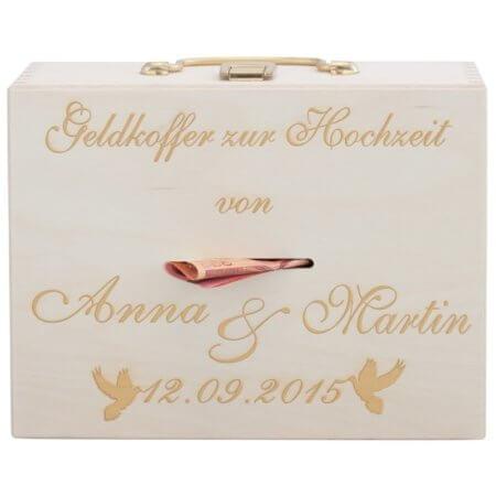 Geldkoffer zur Hochzeit mit Gravur (Tauben)
